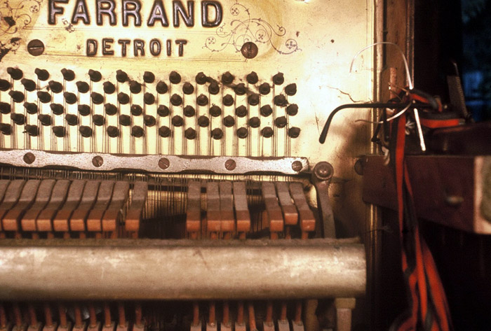Detail of Al Neil's piano from 'What is a Piano' a performance at the Western Front, photo Carole Itter